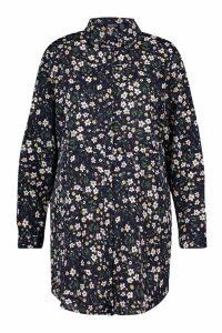 Womens Plus Floral Printed Shirt Dress - navy - 20, Navy