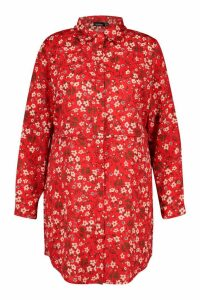 Womens Plus Floral Printed Shirt Dress - red - 22, Red