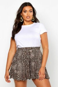 Womens Plus Leopard Floaty Shorts - brown - 20, Brown