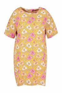 Womens Plus Woven Floral Shift Dress - yellow - 22, Yellow