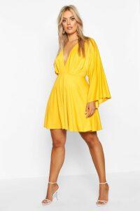 Womens Plus Plunge Kimono Sleeve Skater Dress - yellow - 16, Yellow