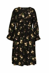 Womens Plus Floral Ruffle Detail Midi Dress - black - 20, Black