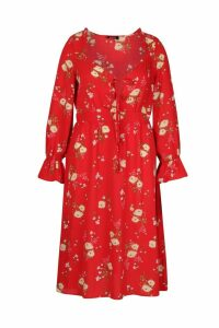 Womens Plus Floral Ruffle Detail Midi Dress - red - 22, Red