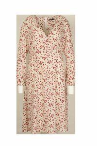Womens Plus Heart Print Wrap Midi Dress - white - 16, White