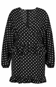 Womens Plus Polka Dot Ruffle Skater Dress - black - 20, Black