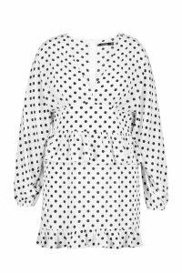 Womens Plus Polka Dot Ruffle Skater Dress - white - 24, White