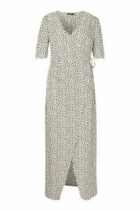 Womens Plus Dotty Wrap Tie Waist Maxi Dress - white - 24, White