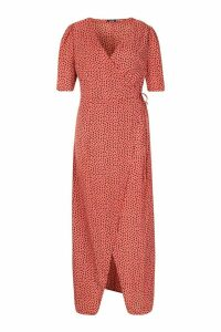 Womens Plus Dotty Wrap Tie Waist Maxi Dress - pink - 20, Pink