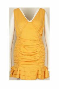 Womens Plus Ruched Frill Hem Mini Dress - yellow - 24, Yellow