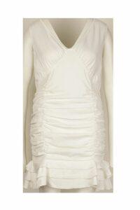 Womens Plus Ruched Frill Hem Mini Dress - white - 18, White