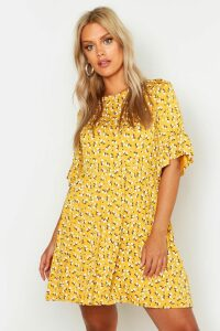 Womens Plus Ditsy Floral Smock Dress - yellow - 20, Yellow