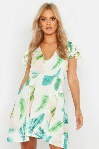 Womens Plus Palm Print Ruffle Skater Dress - white - 18, White