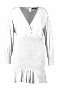 Womens Plus Shirred Frill Hem Dress - white - 20, White