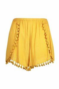 Womens Plus Crinkle Tassel Trim Shorts - yellow - 20, Yellow