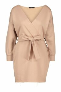 Womens Petite Off The Shoulder Belted Sweat Dress - beige - 12, Beige
