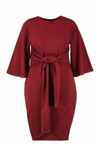 Womens Plus Kimono Sleeve Tie Waist Wrap Dress - maroon - 20, Maroon