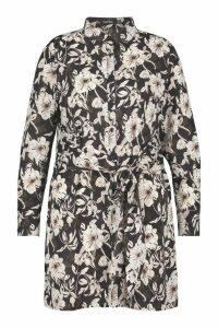 Womens Plus Floral Tie Detail Shirt Dress - black - 24, Black
