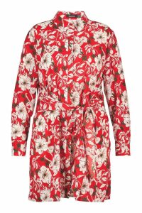 Womens Plus Floral Tie Detail Shirt Dress - red - 20, Red