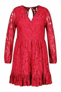 Womens Plus Lace Wrap Ruffle Hem Skater Dress - red - 22, Red