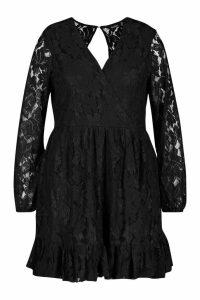 Womens Plus Lace Wrap Ruffle Hem Skater Dress - black - 20, Black