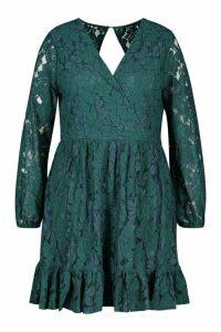 Womens Plus Lace Wrap Ruffle Hem Skater Dress - green - 20, Green