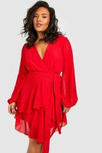 Womens Plus Ruffle Hem Dobby Mesh Skater Dress - red - 24, Red