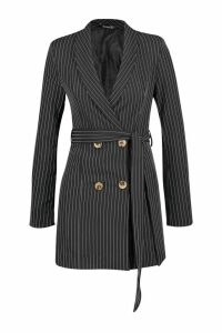 Womens Petite Striped Double Breasted Belted Blazer Dress - black - 4, Black