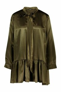 Womens Petite Woven Pussy Bow Smock Dress - green - 14, Green