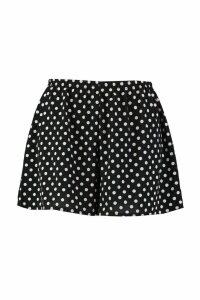 Womens Plus Polka Dot Woven Flippy Shorts - black - 28, Black