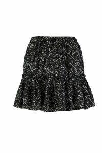 Womens Petite Polka Dot Ruffle Skater Skirt - black - 14, Black