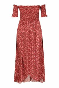 Womens Plus Ditsy Off Shoulder Maxi Dress - red - 20, Red