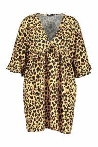 Womens Plus Leopard Ruffle Plunge Woven Shift Dress - brown - 20, Brown