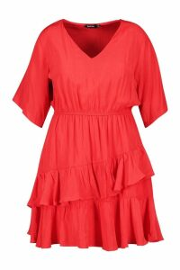 Womens Plus Ruffle Woven Skater Dress - red - 16, Red