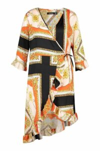 Womens Plus Satin Chain Print Ruffle Wrap Dress - orange - 20, Orange