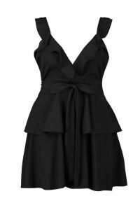 Womens Plus Ruffle Tie Waist Skater Dress - black - 18, Black