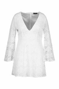 Womens Plus Lace Plunge Skater Dress - white - 20, White