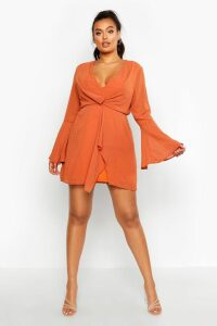 Womens Plus Dobby Plunge Front Flared Sleeve Shift Dress - orange - 20, Orange