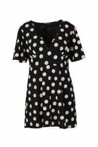 Womens Plus Polka Dot Woven Angel Sleeve Smock Dress - black - 20, Black