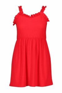 Womens Plus Ruffle Detail Skater Sundress - red - 18, Red