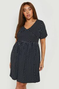 Womens Plus Plunge Polka Dot Cap Sleeve Sundress - black - 20, Black