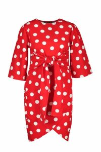 Womens Plus Polka Dot Kimono Sleeve Tie Waist Wrap Dress - red - 16, Red