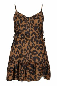 Womens Plus Animal Belted Ruffle Skater Dress - brown - 20, Brown