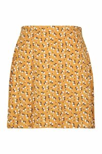 Womens Plus Ditsy Floral Skater Skirt - yellow - 28, Yellow