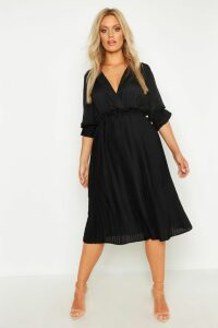 Womens Plus Ruffle Detail Pleated Midi Dress - black - 16, Black
