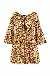 Womens Plus Leopard Print Flare Sleeve Beach Dress - yellow - 18, Yellow