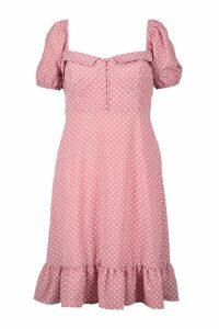 Womens Plus Puff Sleeve Sweetheart Ruffle Hem Dress - Pink - 20, Pink