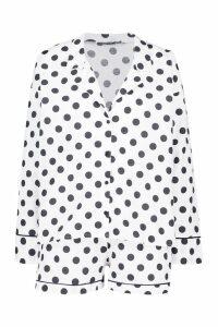 Womens Cotton Polka Dot Woven Button Through Short Set - white - 12, White