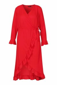 Womens Plus Ruffle Wrap Midi Dress - red - 22, Red