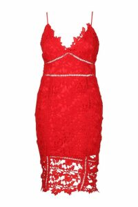 Womens Plus Premium Crochet Lace Stappy Midi Dress - red - 24, Red