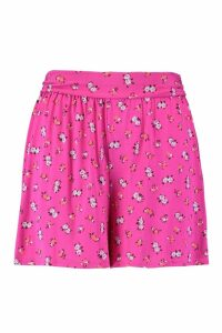 Womens Plus Ditsy Floral Flippy Shorts - Pink - 22, Pink